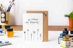 Handdrawn Postcard 'Jij verdient een bloemetje' (A6) by ninamaakt on Etsy https://www.etsy.com/listing/232204245/handdrawn-postcard-jij-verdient-een