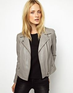 would love this in faux leather - Whistles Lita Leather Biker