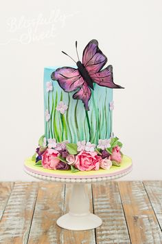 Beautiful Butterfly Garden Birthday Cake by Blissfully Sweet Gorgeous Cakes, Pretty Cakes, Cute Cakes, Amazing Cakes, Fancy Cakes, Fondant Cakes, Cupcake Cakes, Garden Birthday Cake, Cake Birthday