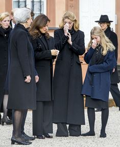 The female family members, including Prince Gustav's girlfriend US author Carina Axelsson (second from left) shed tears together (Pictured from left: Princess Benedikte, Axelsson, Princess Alexandra and Countess Ingrid )
