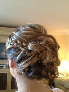 stylish bridesmaid hair: its a braid with a bun