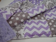 Damask Chevron and Dots in Lavender and Gray by KBExquisites, $27.00