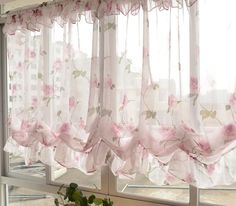 Details about Adjustable Balloon Shade Floral Prints Sheer Curtain Scalloped Window Voile - Cortinas - Top Kreative Hobby-Ideen Shabby Chic Kitchen Decor, Shabby Chic Living Room, Shabby Chic Bedrooms, Shabby Chic Homes, Shabby Chic Style, Shabby Chic Furniture, Rustic Decor, Balloon Shades, Shabby Chic Curtains