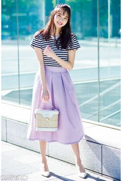 Pin by dusty-chen on 基础练习研究 in 2019 Daily Dress, Japan Fashion, Second Hand, The Dress, Cute Girls, Midi Skirt, High Waisted Skirt, Short Sleeve Dresses, Photoshoot