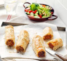 Sausage rolls with garden salad recipe - Better Homes and Gardens - Bhg Recipes, Diabetic Recipes, Cooking Recipes, Cooking Tips, Recipies, Healthy Recipes, Aussie Food, Australian Food, Australian Recipes