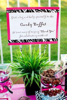Design Dazzle: Black, Pink and White Zebra Party! Candy buffet