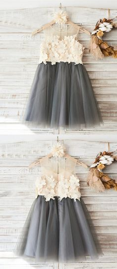 cute grey flower girl dresses, little girl dress with appliques, rustic girls dresses with flowers