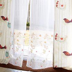 チェスター 刺繍 レースカーテン オレンジ