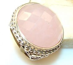 Beautiful Solid Rose Quartz Sterling Silver Ring s. 9 1/4
