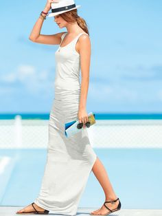 Ruched Maxi Cover-up in many colors. Perfect for travelling