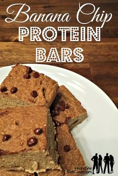 These bars look and taste like cookie cake! You won't believe that you are actually eating a protein bar! Clean Eat Recipe: Banana Chip Protein Bars | He and She Eat Clean