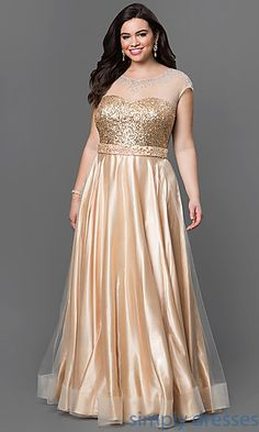 Shop for plus-size formal dresses for prom at PromGirl. Plus-size long evening gowns, plus prom dresses and cocktail party dresses in plus sizes. Gold Plus Size Dresses, Plus Size Gowns, Plus Size Evening Gown, Evening Gowns, Full Figure Dress, Prom Dresses 2017, Party Dresses, Dresses Dresses, Occasion Dresses