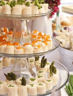Tea Sandwiches for your graduation party: lovely- no recipes, just ideas: curried chicken salad, smoked salmon with dill creme fraiche and caviar & asparagus with lemon cream cheese