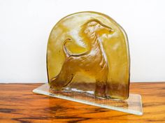 Vintage Art Deco Style Peach Glass Greyhound by VestraVintageVita