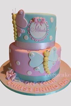Butterfly Christening Cake Birthday Cakes Girls Kids, Baby Birthday Cakes, Cupcake Birthday Cake, Cupcake Cakes, Fondant Butterfly, Butterfly Birthday Cakes, Christening Cake Girls, Fake Cake, Wedding Cake Designs