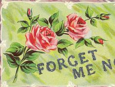 Pink Roses and Forget-Me-Not Message in Glitter by TheOldBarnDoor