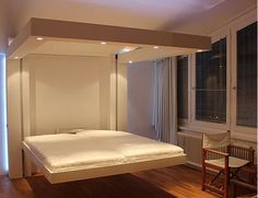 New Bedroom Design Ceiling Beds 17 Ideas Ceiling Bed, Light Fixtures Bedroom Ceiling, New Bedroom Design, Bed Design, Suspended Bed, Small House Furniture, Space Saving Bedroom, Bed Lifts, Convertible Furniture