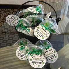 "March Giveaways for prospects to lease. Pots of ""Gold"" Rolos."