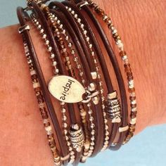 Simple Brown Boho Leather Wrap Bracelet with Silver Accents,Custom Made
