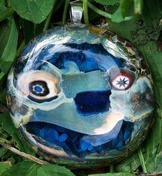 """Metallic Face"" - Fused Glass Pendant by Samuel Gibbons"