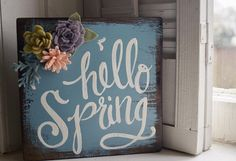 Hello Spring  Felt Flower Wood Sign - free shipping - ready to ship - housewarming - Easter gift - new home - Lent - Happy Easter