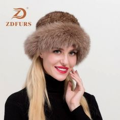 Real Women Mink Fur Hat Fox Fur 55-61 cm Save this photo on your board if you ❤️ it.