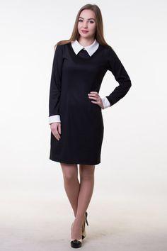 8dfc4ff375ba Midi black dress white collar Classic pencil dress Black office dress  School teacher dress Black wrap dress short