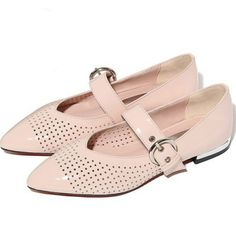 63.00$  Buy here - http://ali0ny.shopchina.info/go.php?t=32803716509 - US 9 Size Mary janes women spring summer flat heel single shoes ladies 2017 pointed toe pink black hollow flats shallow shoes  #aliexpresschina