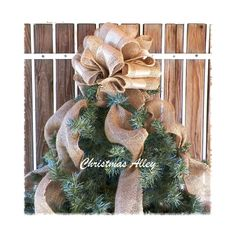 Christmas Tree Topper   Burlap Tree Topper Gold by ChristmasAlley, $39.00