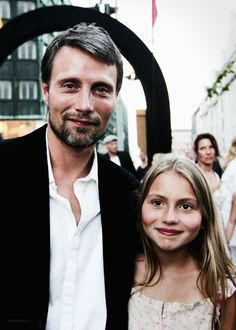 Mads Mikkelsen and his beautiful daughter, Viola Mads Mikkelsen, Beautiful Family, Most Beautiful Man, Hannibal Anthony Hopkins, Film Trilogies, Sean O'pry, Day Lewis, Joseph Gordon, Backgrounds