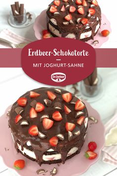 Erdbeer-Schokotorte Strawberry chocolate cake: Fruity strawberry cake with yoghurt cream, chocolate brownie base and yoghurt chocolate bar Chocolate Strawberry Cake, Chocolate Strawberries, Chocolate Desserts, Chocolate Cake, Dessert Simple, Easy Desserts, Dessert Recipes, Cupcake Recipes, Pasta Recipes