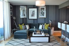 Houzz Tour: Personalizing a Miami Bachelor Pad great small space layout. love pinstripe wall