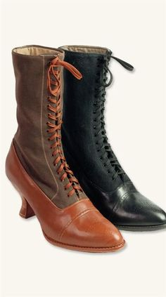Ladies Victorian Boots & Shoes Gerty Mcgrew Boots $149.99 AT vintagedancer.com