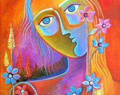 Original abstracto pintura moderna arte acrílico sobre lienzo arte pop de la venta de la flor MUSE Marlina Vera fina de arte Galería venta Fleurs Femme