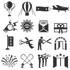 Ribbon Cutting Ceremony black & white vector icon set vector art illustration