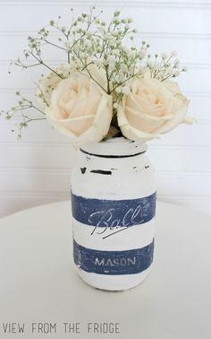 Preppy Distressed Mason Jar Vase     Oh My! Creative