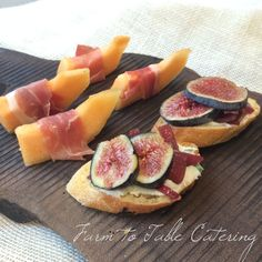 Prosciutto-wrapped melon and crostini with herbed ricotta, caramelized onions and fresh figs. #appetizers #farmtotablecatering #wedding #catering | www.farm2tablecatering.com