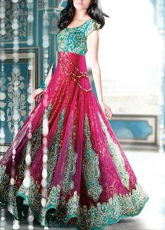 Turquoise/Pink Indian Anarkali Dress - Heavy Embroidery Not usually a fan of these colors together, but this looks really fun and pretty Red Lehenga, Anarkali Dress, Bridal Lehenga, Anarkali Suits, Indian Anarkali, Punjabi Suits, Indian Attire, Indian Wear, Pakistani Outfits