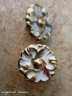 French Provincial Drawer Knobs Brass & White by MagicalBeansHome