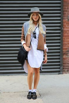 Blogger Shea Marie looks chic in a white shirt-dress and all the right accessories.