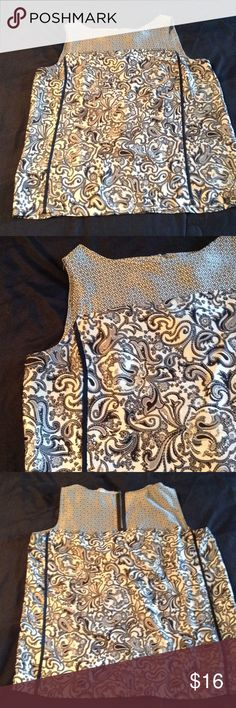 """Black and gray paisley print tank top Dressy tank top in silky polyester material, gray and black paisley print, this will fit up to 40"""" bust, length is 25"""", looks great with a cardigan or worn alone LOFT Tops Tank Tops"""