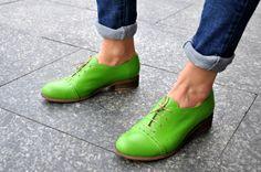 Devon  Womens Oxfords Handmade Oxfords Green shoes Oxfords