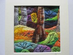 textile art,  felt art, woodland scene, to fit 8 x 8 inch frame