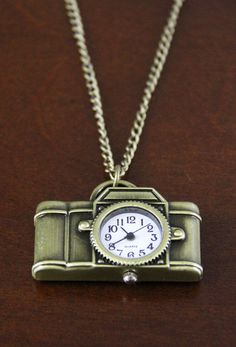 Long Bronze Metal Camera with Clock Necklace