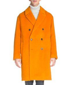 Long-Sleeve Wool-Alpaca Coat, Orange