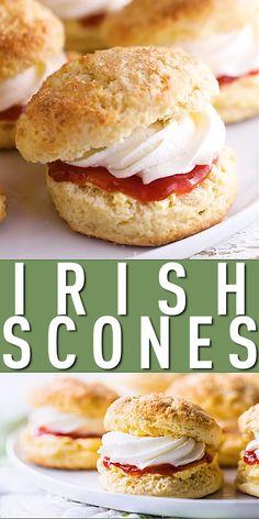 Irish Scones with Jam & Cream: Easy recipe! Irish Desserts, Irish Recipes, Scones And Jam, Basic Scones, British Scones, Homemade Scones, Breakfast Desayunos, British Baking, Biscuit Recipe