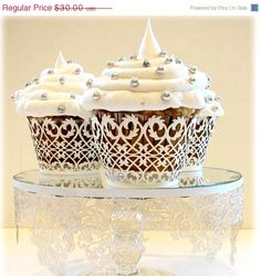 HUGE SALE 50 Lace Cupcake Wrappers Liner WHITE Filigree by lisasu