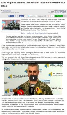 Kiev Regime Confirms that Russian Invasion of Ukraine is a Hoax! 29 ene 2015 http://www.globalresearch.ca/kiev-regime-confirms-that-russian-invasion-of-ukraine-is-a-hoax/5428190