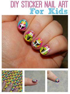 How to make sticker nail art nails nail nail art nail designs nail art for kids kid nail designs kids nails