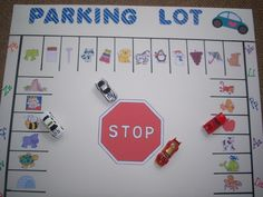 Parking Lot Alphabet Letter/Sound Literacy Match Game. I wanted a fun Literacy game that my Kindergarten children would want to come back to again and again. I had saw other Parking Lot games and decided to make one of my own. Hope grandson does not miss his cars.